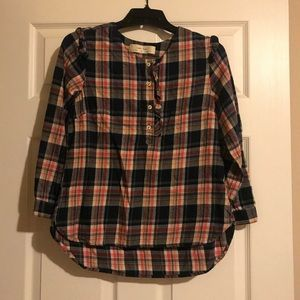 Anthropologie Isabella Sinclair plaid top size xs